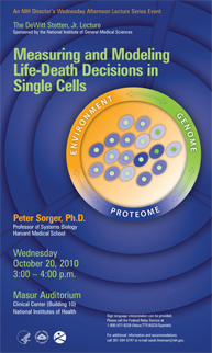 2010 Stetten Lecture poster - Measuring and Modeling Life-Death Decisions in Single Cells