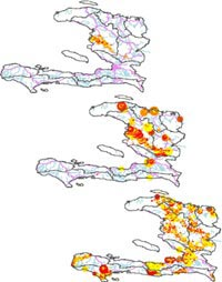 Simulation of cholera outbreaks spread from day 5 (top) to day 120 (bottom) of the epidemic in Haiti. Credit: Dennis Chao, Fred Hutchinson Cancer Research Center
