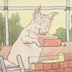 Pig building a beick house. Credit: From The Three Little Pigs by L. Leslie Brooke, 1904.