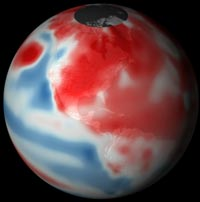 Blue area extending across the Central Pacific in this visualization shows cooler than average ocean temperatures. Credit: National Oceanic and Atmospheric Administration.
