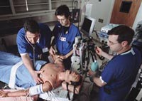 Anesthesiology students training with a patient simulator. Credit: Jeffrey Taekman.